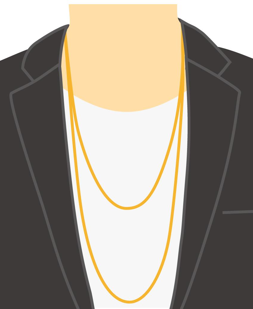 テーラードジャケット+カットソー+ロングネックレス