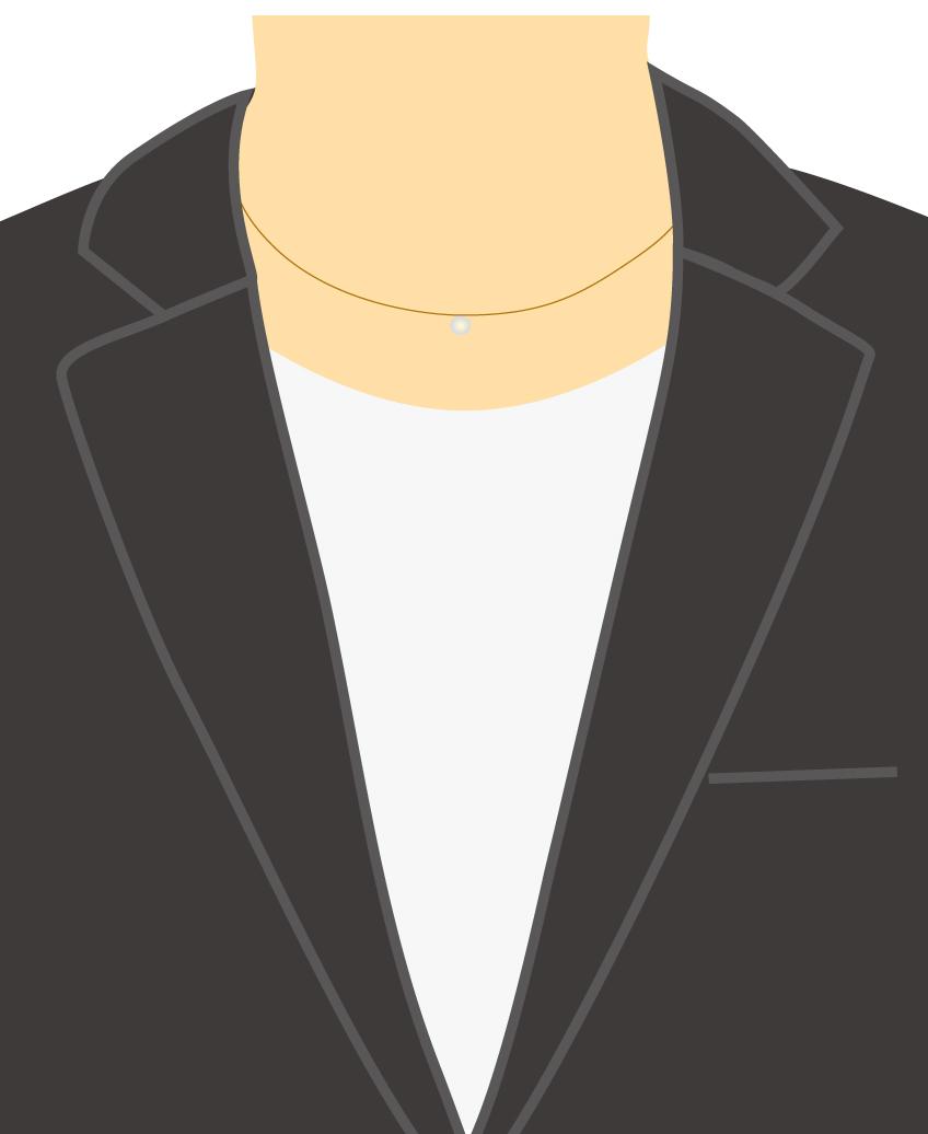 テーラードジャケット+カットソー+プチ・ネックレス