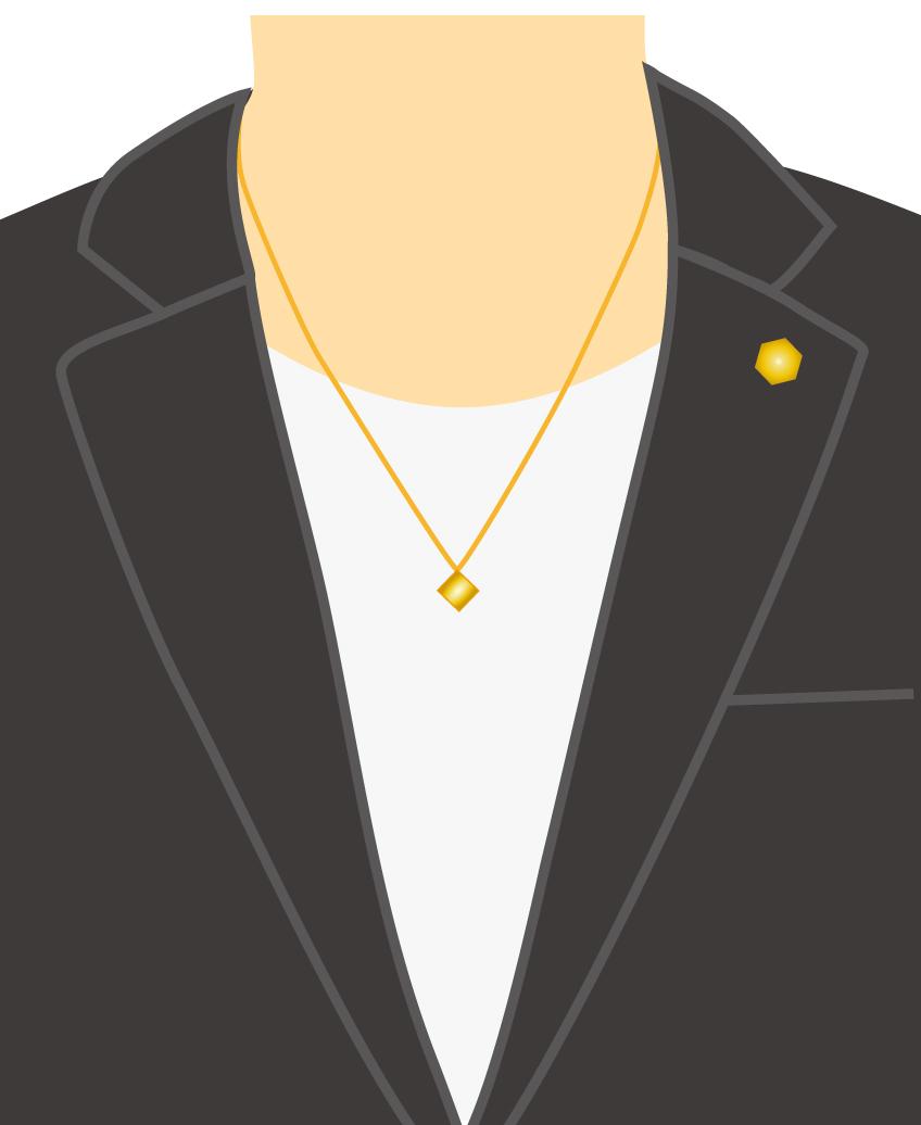 テーラードジャケット+カットソー+ネックレス+ブローチ